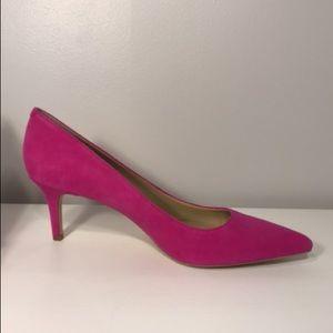 Ann Taylor Suede Kitten Pump- Deep Fuschia (Pink)